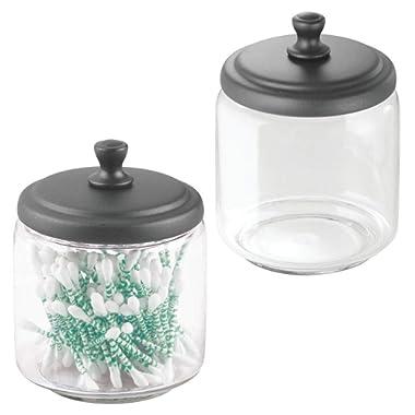 mDesign Glass Bathroom Vanity Storage Organizer Canisters Jars for Cotton Balls, Swabs, Beauty Blenders, Makeup Sponges, Bath Salts, Hair Ties, Jewelry - 2 Pack, Clear/Graphite