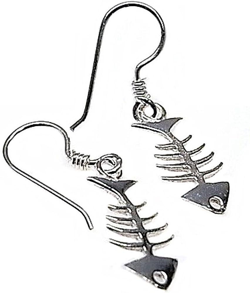 Pendientes plata Ley 925m motivo raspa 18mm. pescado [AB5355]