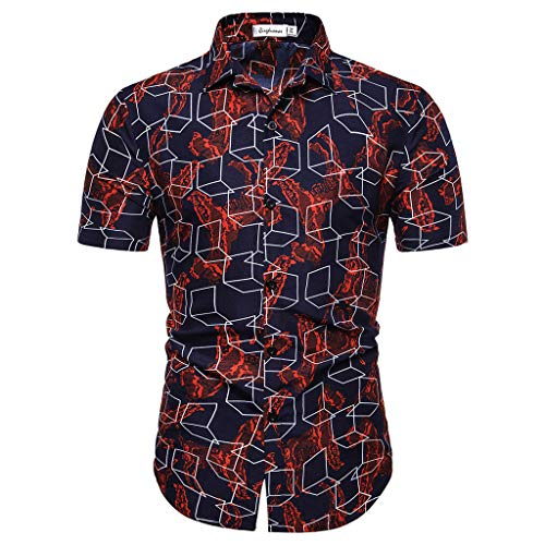 Toimothcn Men's Hawaii Floral Printed Splicing Pattern Casual Lapel Short Sleeve Button Down Shirt(Multi Color5,L)