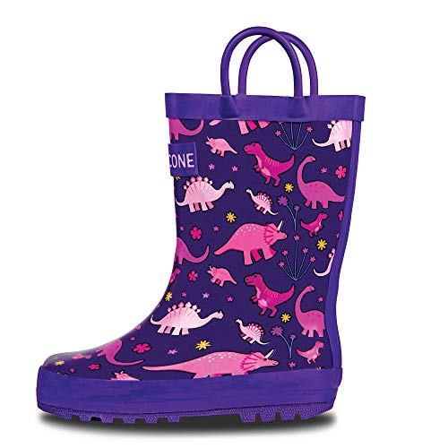 LONECONE Rain Boots with Easy-On Handles in Fun Patterns for Toddlers and Kids, Pink Dinosaurs, 5 Toddler