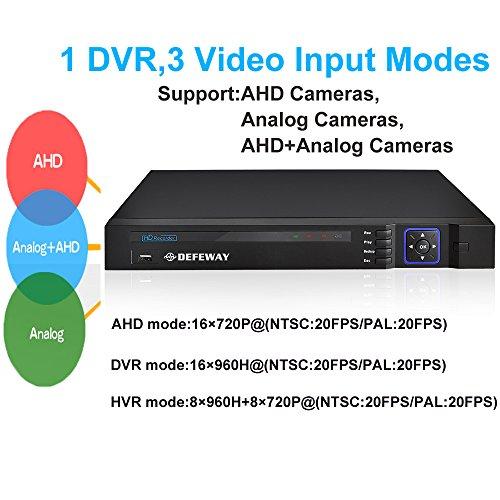 DEFEWAY 16 Channel 720P Hybrid DVR 960H Analog DVR 1080HDMI QR-Code eCloud DVR for CCTV Surveillance System with 2000G TOSHIBA Hard Drive