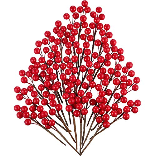 Tatuo 360 Pieces Red Artificial Holly Berries Christmas Winter Berries Bunch Faux Cranberries Bunch on 60 Stems for Table Centerpiece
