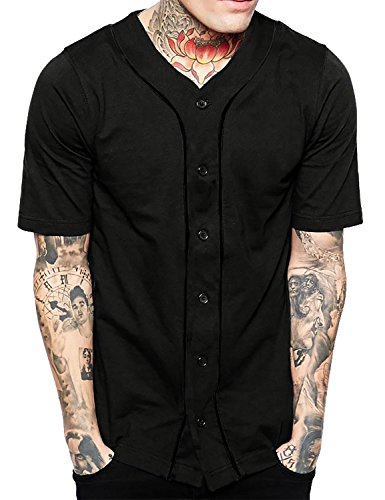 Hat and Beyond Mens Baseball Button Down Jersey 1UPA0001 (2X-Large, 1up01_Black/Black)