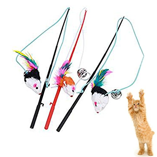 Giveme5 3pcs Funny Pet Feather False Mouse with Plastic Stick 31cm and Small Bell Cat Kitten Playing Scratch Toy (Color Random) (Playing Stick Figure)
