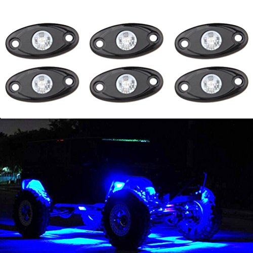 Blue Light Kit (Amber LED Rock Light Kits with 6 pods Lights for Off Road Truck Car ATV SUV (Blue))