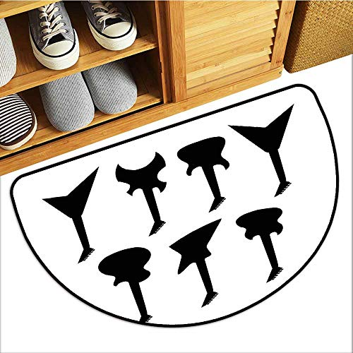 (Entrance Door Mat, Rock Music Custom Out-Imdoor Rugs for Kitchen, Various Guitar Silhouettes Acoustic Electronic Bass Abstract String Instruments (Black White, H16 x D24 Semicircle))