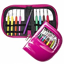 Ergo Hooks Ergonomic Crochet Hooks Cushion Grip for Ultimate Comfort. Includes 9 Pcs Color Coded Crochet Hooks Set + See-through Case
