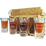 I Solemnly Swear That I Am Up To No Good, Polyjuice Potion, Obliviate and Mischief Managed Shot Glass ULTIMATE Gift Set in Beautifully Cut and Engraved Storage Tote - Permanently Etched