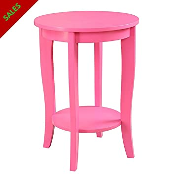 Amazon.com: Bedside End Table Pink For Small Spaces Classic Design ...