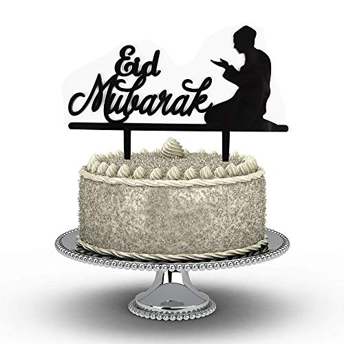 GrantParty Eid Mubarak Cake Topper | Ramadan Kareem Cake Topper Acrylic for Eid Festival Wedding Baby Shower Birthday Party Decorations with Protective Film on Both Sides(Black) (Best Wishes For Ramadan Mubarak)