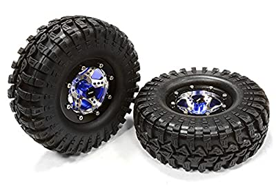 Integy RC Hobby C25409BLUE V2 Alloy 6 Spoke Type S3 1.9 Size Wheel & Tire (2) for Scale Crawler (OD=106mm)