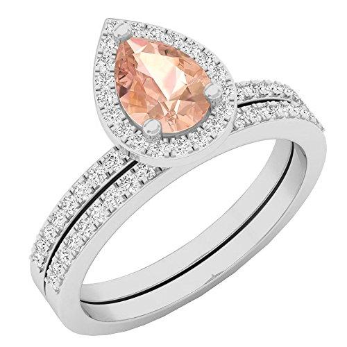 10K White Gold 7X5 MM Pear Morganite & Round Diamond Ladies Bridal Engagement Ring Set (Size 6)
