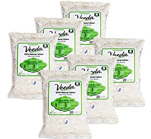 Veeda Natural All-Cotton Feminine Wipes with Vitamin E, for Sensitive Skin, 6 Packs of 20 Count Each