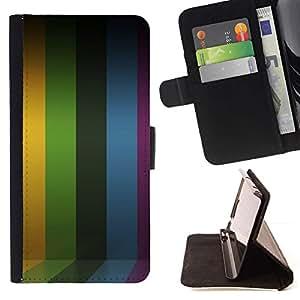 Momo Phone Case / Flip Funda de Cuero Case Cover - Líneas de rayas púrpura del arco iris amarillo - LG G3