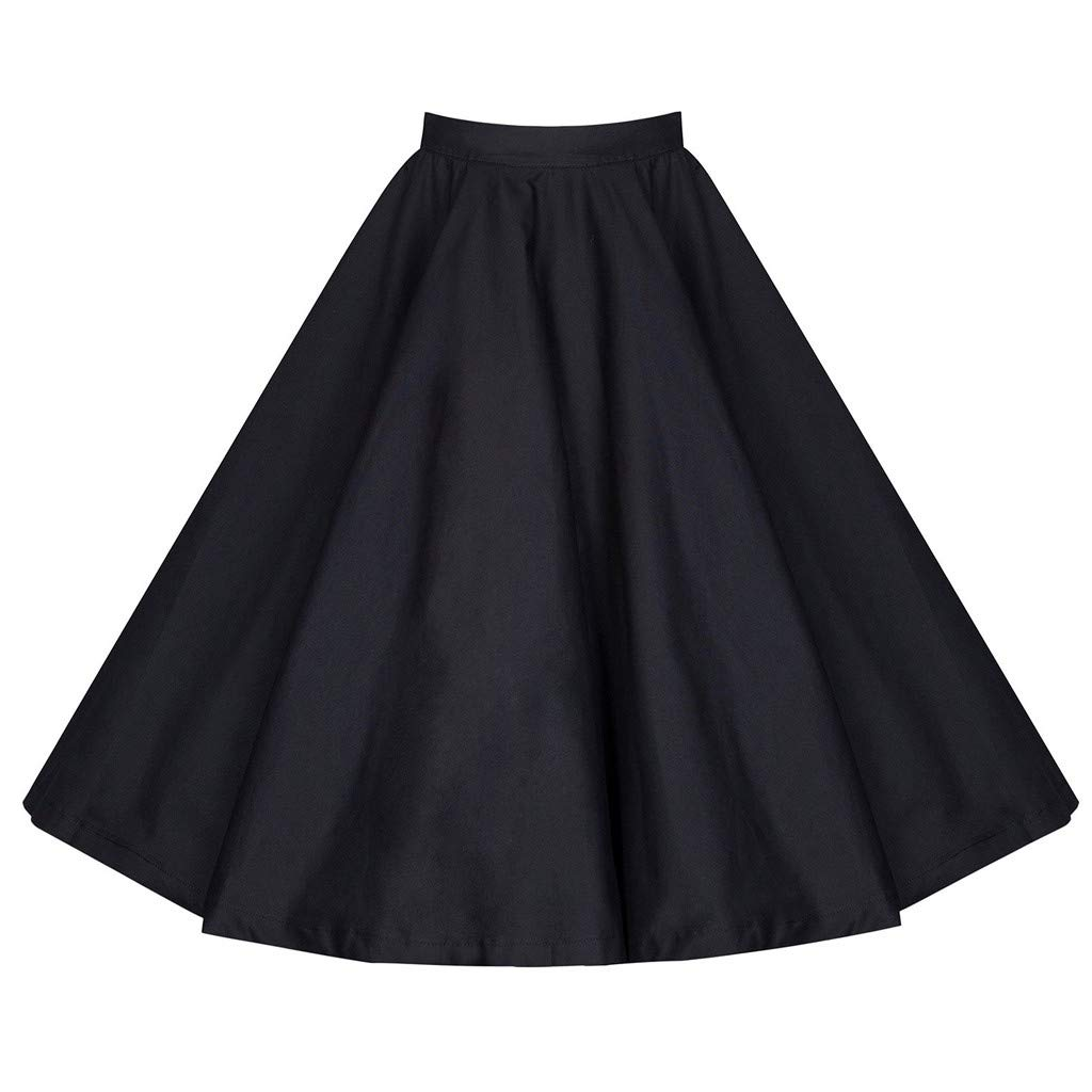 Casual/Elegant Dress/Bottoms Women Solid Color A-Line Elastic Waist Vintage Fashion Skirt Black by UCQueen
