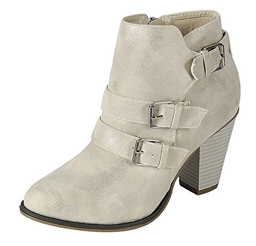 Forever Women's Buckle Strap Block Heel Ankle Bootie Champagne