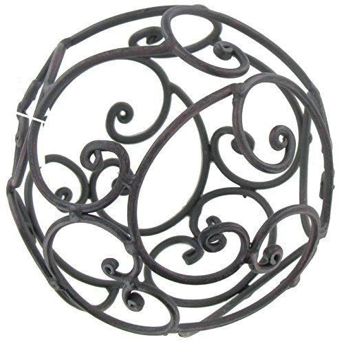 Black Iron Decorative Sphere with Open Swirl