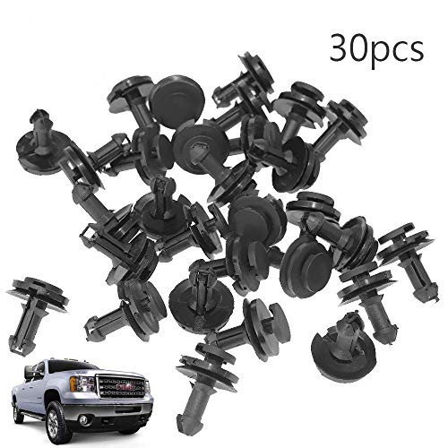 Anxingo Deflector Retainer Clips 15733971 Auto Body Clips Bumper Fastener Rivet Clips for GM Chevrolet Front Air Dam Valance (30-Pack) ()