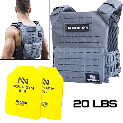 Northgym Adjustable Fitted 20lbs Weighted Vest for Men and Women/Perfect for Endurance & Strength Training and WODs in Grey / 2 Moulded 8.75lbs Weight Plates Included