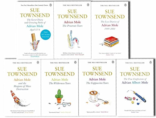 Adrian Mole collection 8 Books set. (Sue Townsend Adrian Mole series collection set.) (The secret diary of Adrian Mole aged 13 ¾, the Growing pains of Adrian Mole, True confessions of Adrian Albert Mole, Adrian Mole: the wilderness year, Adrian Mole the  by