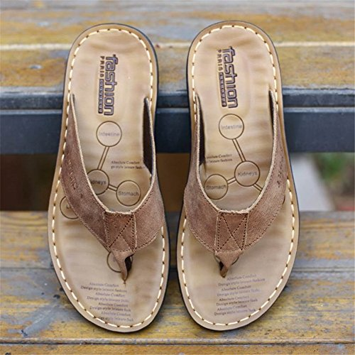 Formal Black Slippers Khaki Flip Brown Casual Fall Cowhide Outdoor Flops Shoes HUAN A amp; for Men's Summer Shoes XwSqqxgBH
