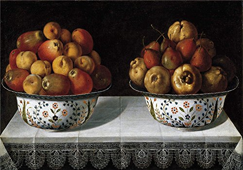 Oil Painting 'Hiepes Tomas Two Fruit Bowls On A Table 1642 ' (Beaded Pearl Fruit Bowl)
