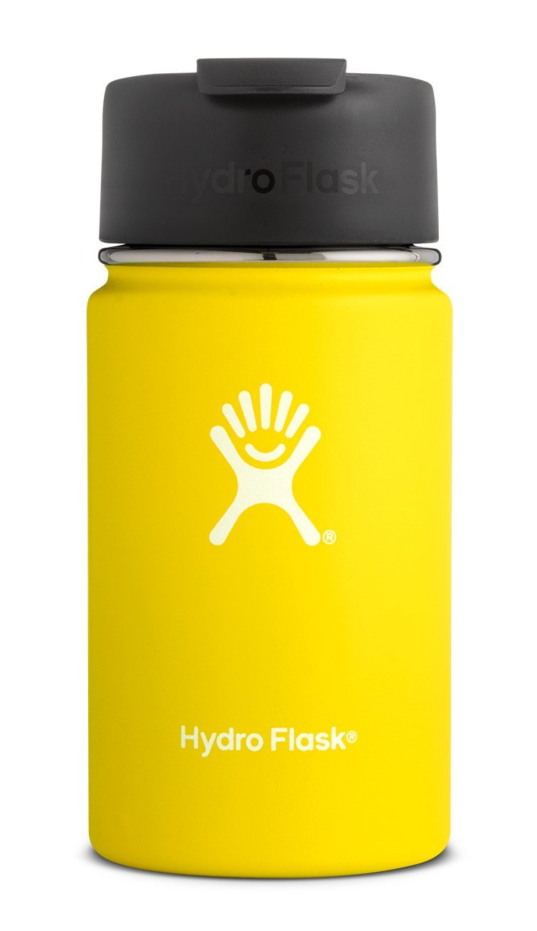 Hydro Flask 12 oz Travel Coffee Flask | Stainless Steel & Vacuum Insulated | Wide Mouth with Hydro Flip Cap | Lemon