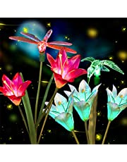 Anpro Outdoor Solar LED Flower Garden Light, Garden Decor with 6 Lily Flower and Butterflies Combination Decorative Lights Multi-Color Changing LED Solar Stake Lights for Garden, Patio, Backyard…