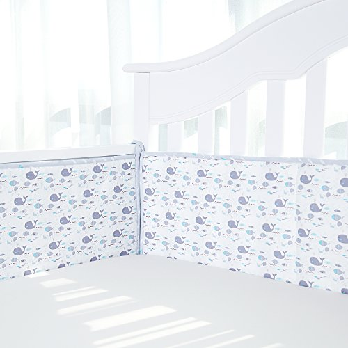 (TILLYOU Cotton Collection Breathable Crib Bumper Pads for Standard Cribs Machine Washable Padded Crib Liner Set for Baby Boys Girls Safe Bumper Guards Crib Rail Padding, 4 Piece, Whale Fish)