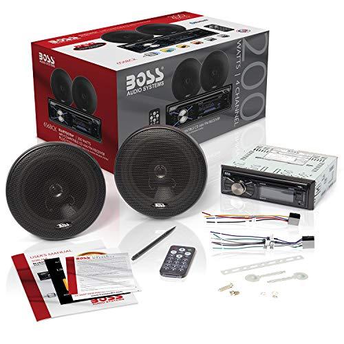 BOSS Audio Systems 656BCK Car Stereo Package - Single Din, Bluetooth, CD MP3 USB AM FM Radio, 6.5 Inch 2 Way Full Range Speakers, Black