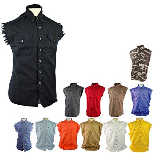 [Classic Biker Cutoff Sleeveless Denim Shirts XL Grey] (Bottom Sleeveless)