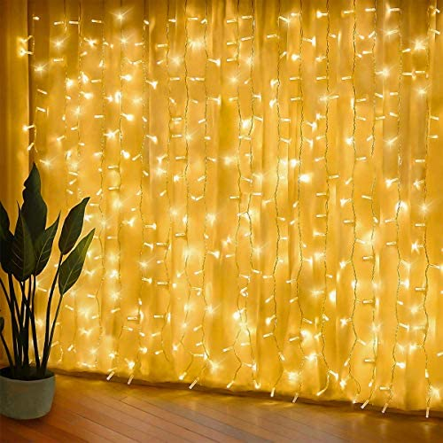 300 luci per tende a LED, 3 x 3 m,8 modalità, IP44 impermeabile, stanza, matrimonio, padiglione da giardino, Halloween,decorazioni natalizie [Classe di risparmio energetico A +++]