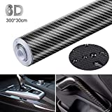 Lypumso Carbon Fiber Vinyl Film Car Wrap Film 6D, Self Adhesive Waterproof Bubble Free 120'' X 12'', Suitable for Appearance and Interior of Motorcycles, Computers, wallet, table, Cars (Black)