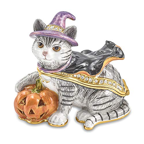 Jere Luxury Giftware Bejeweled Serena Halloween Cat, Pewter with Enamel Collectible Trinket Box with Matching Pendant -