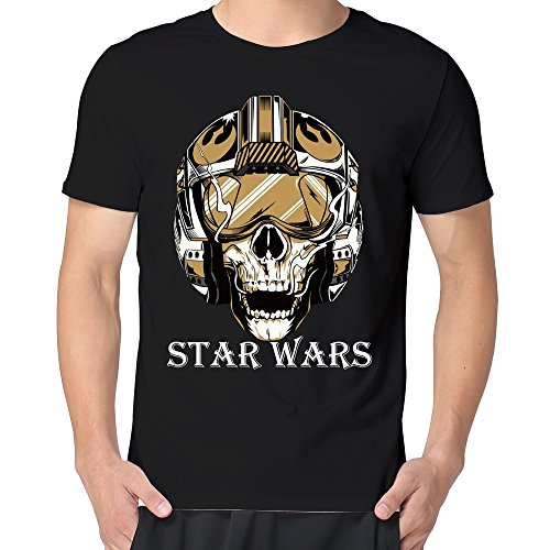 [MARY Men's Star Wars Episode 7 Mask Logo Helmet T-shirt Black XXL] (Buffalo Bob Costume)