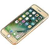 TOP FILM iphone7 /4.7インチ 衝撃保護ガラスフィルム 液晶保護フィルム 鏡面ミラーキラキラ光るバックプレート前後鏡面ガラスフィルム 前後セット 0.20mm 表面硬度9H (iPhone7, ゴールド)