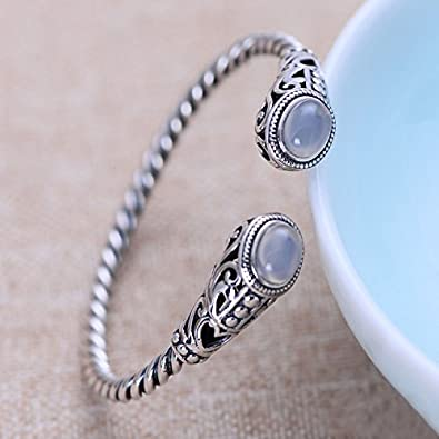 Vintage 925 Sterling Silver Twisted Rope Open Cuff Bangle Bracelet with Stones for Women Girls Adjustable 55mm