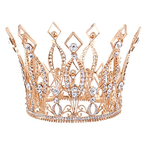 Stuffwholesale 4inch Height Floral Full Crown Rhinestone Crystal