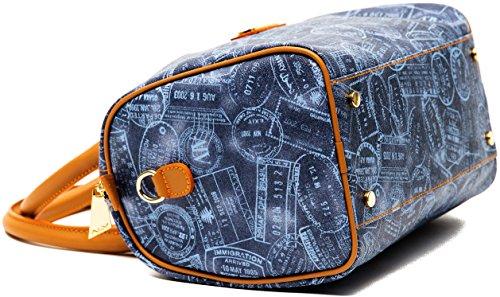 Borsa Bauletto Tracolla Medio Azzurro Cuoio Donna Alviero Martini Bag Medium Denim Leather Woman EVER117D006B