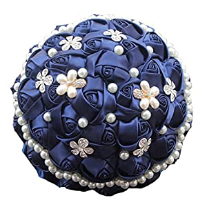 S-SSOY Popular Hand Made Adorn Pearls Diamond Silk Ribbon Roses Bridesmaid Bridal Artificial Bouquets Customization Bride Holding Bouquet Wedding with Corsage Flower, Navy 17