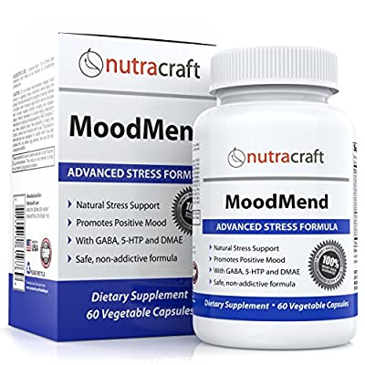 Natural Stress and Anxiety Relief Supplement Pills - Natural Herbal Support for Anxiety, Stress Relief and Mood Enhancement with Ashwagandha, 5-HTP, GABA, St. John's Wort & Chamomile - 60 Veg Capsules