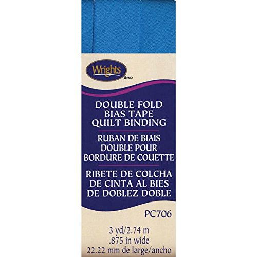 Wrights Double Fold Quilt Binding, 7/8 by 3-Yard, Turquoise 117-706-069