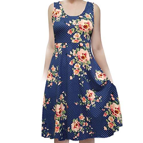SMT Women's Sleeveless Flowy Midi Summer Beach A Line Tank Dress Polka Dot in Blue with Flower - In Dot Polka Womens Dress