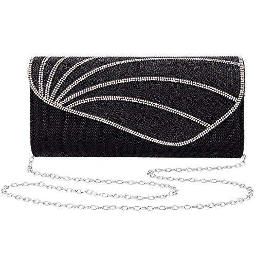 Gabrine Womens Evening Envelop Bag Handbag Clutch Purse Shiny Mesh Fabrics Rhinestone-Studded for Wedding Prom -