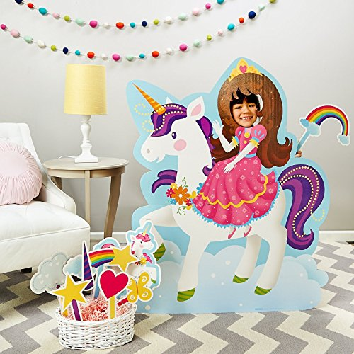 Rainbow Unicorn Princess Room Decorations - Life Size Cardboard Stand In with Photo Props