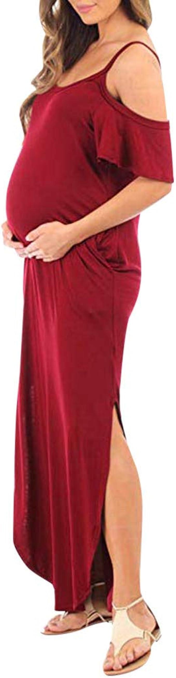 Vestido Premam/á,Gusspower Ropa Embarazada Cuello V Mixi Vestidos Maternidad Fiesta Boda Moda Vestido Embarazo Manga Corta Elegante Vestido De Lactancia Camison Talla Grande Faldas Largas Verano