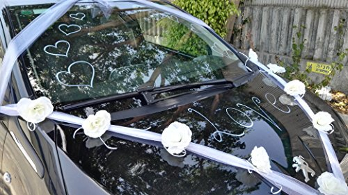 Happy days wedding car decoration kit wide white organza import happy days wedding car decoration kit wide white organza ribbon with white flowers and white junglespirit Images
