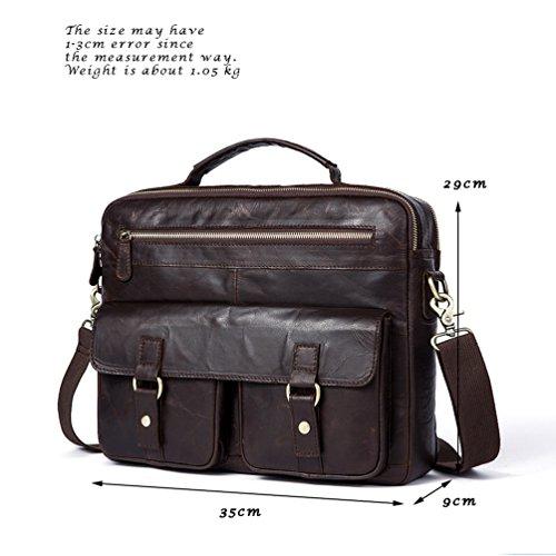 Sucastle ® Herren Leder Umhängetasche Schultertasche Kuriertasche Messenger Bag Große Kapazität Vintage Design Perfektes Geschenk(35x9x29cm )