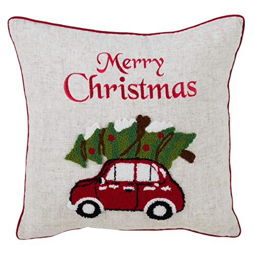 "SARO LIFESTYLE Le Jour de Noël Collection Poly and Linen Throw Pillow with Holiday Red Car Design and Down Filling, 18"", Multi"