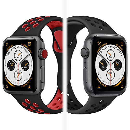 iWatch Band 38mm, KADES Breathable Soft Silicone Replacement Band Compatible for Apple Watch Series 40mm 38mm (Red Black) ()